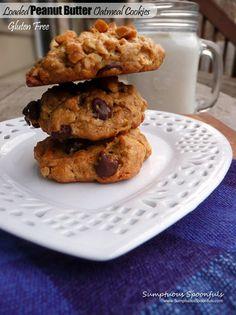 GF Loaded Peanut Butter Oatmeal Cookies - Sumptuous Spoonfuls #ThursdayTweetTreats #recipe #cookies #peanutbutter #gluten-free