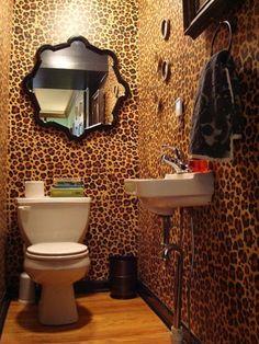 an animal print bathroom.