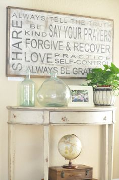"""stencils spray paint wood = easy """"subway art"""" @ Pin Your Home Do It Yourself Furniture, Do It Yourself Home, Family Rules Sign, Family Sayings, Family Motto, Wall Sayings, Spray Paint Wood, Magnolia Farms, Magnolia Market"""
