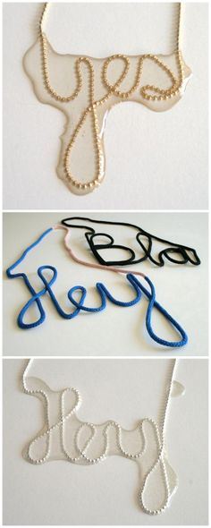 """DIY Inspiration: Ball Chain Resin Word Necklace. The word chain necklace, designed by Fleur Goedendorp, is described as being a """"very fine ball chain"""" shaped into a word using a """"special silicone rubber"""".   Fleur Goedendorp's yarn word necklace or wall art pieces are made from cotton thread and wire. There are lots of tutorials online on how to either wrap wire with thread/yarn to create words, or feed a wire through rope or french knitting."""
