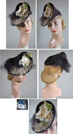 1930s Navy Tilt Hat with White Rose and Veil from NY Creations