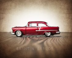 Vintage Muscle Car Candy Apple Red 55 Chevy