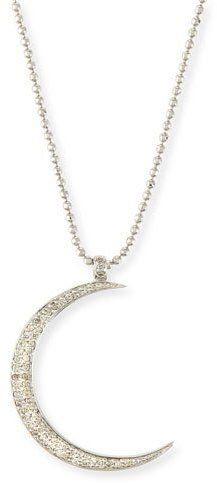 Sydney Evan Large Pavé Diamond Crescent Moon Pendant Necklace
