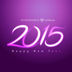 Purple Happy New Year 2015 | Happy 2015 new year in purple color Vector | Free Download