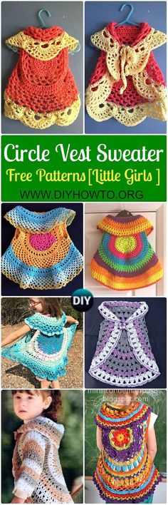 Collection of Crochet Little Girl Circle Vest Sweater Coat Free Patterns: Girls Circle Vest, Jacket, Circle Cardigan, Circle Shrug, Circle Bolero, Circular Waistcoat via @diyhowto