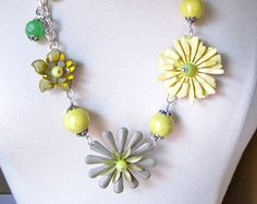 Statement Necklace, Vintage Enamel Flower, Long, Boho, Upcycled, Green, Yellow, Jennifer Jones, Hip, Flower Power, OOAK - Lemon and Sage