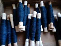 管巻きした琉球藍染めアロー糸/indigo dyed handspun allo(nettle) yarn by cocoon_oharu, via Flickr