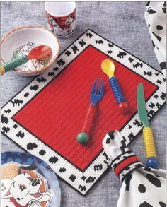 Dalmatian Place Set Plastic Canvas Pattern by needlecraftsupershop, $3.50