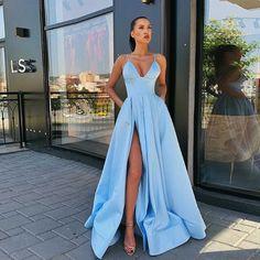 dress Formal outfit - A Line Blue Satin Long Prom Dresses, V Neck High Slit Formal Evening Dresses with Pockets Prom Dresses With Pockets, Straps Prom Dresses, Cute Prom Dresses, Prom Outfits, Dance Dresses, Pretty Dresses, Sexy Dresses, Elegant Dresses, Satin Dresses