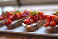 Strawberry & Goat Cheese Bruschetta and a Blogiversary