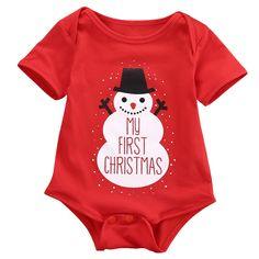 Lovely Newborn Infant Red Baby Kid Boys Girls Snowmen My First Christmas Romper Jumpsuit Outfits Costume Set Christmas Shirts For Kids, Christmas Onesie, Babies First Christmas, Christmas Baby, Christmas Snowman, Christmas Outfits, Christmas Clothes, Merry Christmas, Christmas Fashion