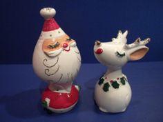 Vintage 1959 Napco Japan Santa & Reindeer Salt Pepper Shakers Christmas