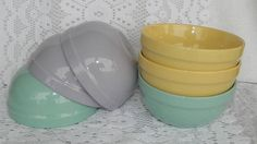 Set of Trisa Stoneware Coupe Soup Cereal Bowls Pastel Yellow Green Purple Easter #Trisa
