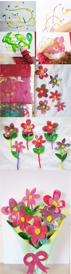 Art and Craft Activity for Kids. The perfect Mother's Day gift. Handmade flower bouquet using your child's paintings.