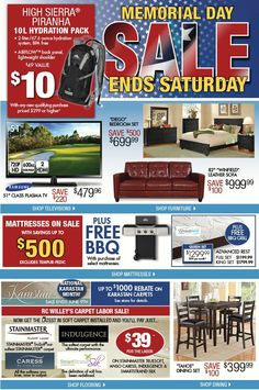 memorial day sale rooms to go 2014