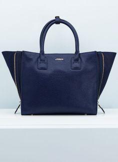 UTERQÜE BOLSO PIEL AZUL CREMALLERAS  - blue leather bag shopping zips