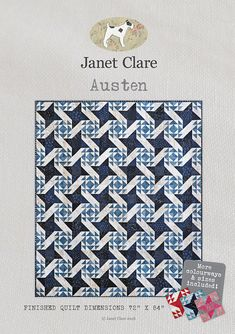 "Red or Blue Austen Quilt Kit - kit to make a lap quilt of Janet Clare's 'Austen' design using fabric from her ""Wintertide"" Moda collection. Quilt Patterns, Sewing Patterns, Geometric Quilt, Quilting Thread, Half Square Triangles, Quilt Sizes, Quilt Top, Blue Fabric, Quilting Designs"