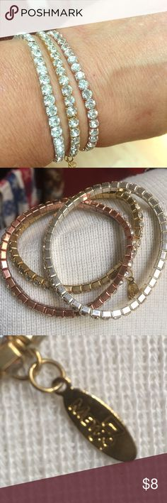 Tricolor braclets Silver, gold and pink gold stretchy Jewelry Bracelets