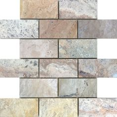 Avenzo Brushed Natural Stone Mosaic Subway Indoor/Outdoor Wall Tile (Common: 12-in x 12-in; Actual: 12-in x 12-in)