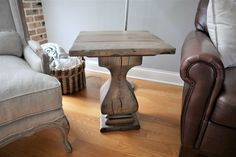 #Sidetable matching the coffee table also design for this room! The cracks give it character. #design #customtable