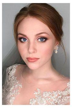 Wedding Makeup For Blue Eyes, Wedding Makeup For Brunettes, Wedding Day Makeup, Bridal Makeup Looks, Bridal Hair And Makeup, Wedding Makeup Redhead, Vintage Wedding Makeup, Wedding Bride, Romantic Wedding Makeup
