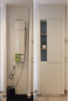 Aménagement placard cache tableau électrique avant/après
