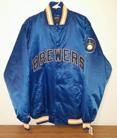 COOPERSTOWN MAJESTIC MILWAUKEE BREWERS MLB SATIN JACKET SZ L LARGE NWT $110 #Majestic #MilwaukeeBrewers