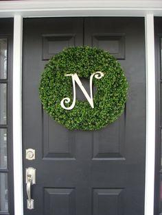 Monogram Boxwood Wreath Year Round Wreath Wedding by ElegantWreath Monogram Letters, Monogram Initials, Wedding Wreaths, Wedding Decorations, Decor Wedding, Wreaths For Front Door, Door Wreaths, Artificial Boxwood Wreath, Initial Wreath