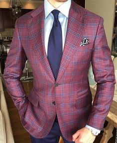Love this plaid bespoke blazer with a white shirt and navy tie navy pants and patterned silk pocket square   #mensfashion #menswear #menstyle #plaid #navy #blazer