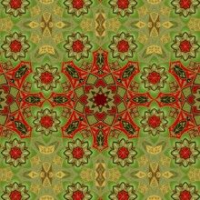 Green Geo-Snowflake, Winter Solstice by In the Beginning Fabrics
