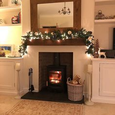 Ah that's better! 🥰 Those of you who guessed my slight OCD issue correctly the other night by spotting the stray fairy light on my Christmas garland, will be pleased to see the stray fairy light is no Log Burner Living Room, Log Burner Fireplace, Inglenook Fireplace, Living Room With Fireplace, Fireplaces, Fireplace Ideas, Cottage Living Rooms, Living Room Shelves, Living Room Interior