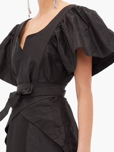 Taffeta Dress, Silk Taffeta, Black Bridal Dresses, Thornton Bregazzi, Black Silk, Pleated Skirt, Wrap Dress, Cute Outfits, Fashion Outfits