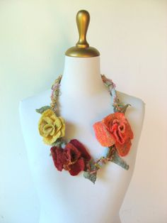 Felted Flower  Necklace for Faeries  Rose Peach by realfaery, $45.00