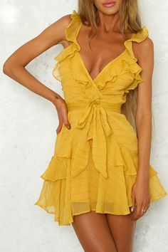 Lily Rosie Girl Solid Ruffles Yellow Dress Women Dress Green Sexy Chiffon Casual Dress Bohemian Beach Party Dress Vestidos - Designer Accessories Online - largest collection of fashionable designer clothing and accessories Dresses Elegant, Sexy Dresses, Cute Dresses, Casual Dresses, Fashion Dresses, Formal Dresses, Prom Dresses, Wedding Dresses, Chiffon Dresses