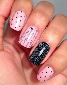 Valiantly Varnished: Pink and Black Arrow Skittle Nail Art