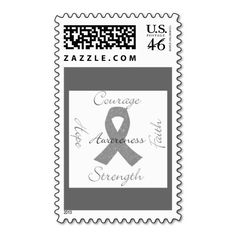 Gray ribbon, Brain cancer awareness Stamp