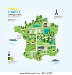 Infographic travel and landmark france map shape template design. country navigator concept vector illustration /