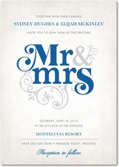 Signature White Textured Wedding Invitations Flourish Title - Front : Blue Moon