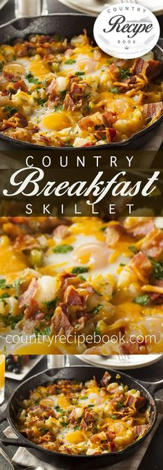 This awesome country breakfast skillet recipe is loaded with fresh potatoes, bacon, eggs, cheese and is super easy to make! Perfect for the weekend. Country Breakfast Skillet - Start your day off right with this country breakfast skillet recipe Breakfast And Brunch, Breakfast Appetizers, Country Breakfast, Breakfast Skillet, Breakfast Dishes, Breakfast Casserole, Breakfast Dessert, Good Breakfast Ideas, Avacado Breakfast