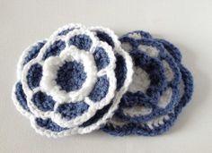 Crochet Flower Brooch Grey Blue and White by ScruffyDucksCrochet, £6.00