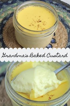 Grandma's Baked Custard was a childhood favorite dessert. This old-fashioned comforting dish is also easy to make, especially if you know a few hints. Baked Custard Recipe, Egg Custard Recipes, Custard Desserts, Köstliche Desserts, Pudding Recipes, Baking Recipes, Dessert Recipes, Health Desserts, Cookie Recipes