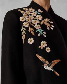 Jackets For Women Embroidery On Kurtis, Embroidery On Clothes, Embroidered Clothes, Embroidery Fashion, Embroidery Suits Design, Hand Embroidery Patterns, Embroidery Dress, Wool Coat, Designing Women