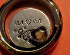 FLOATING WAFER - Mom Flourish - 1 hand-stamped disc - fits glass memory lockets - similar to Origami Owl plates