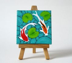 Koi Fish Pond / Original Painting / Mini Canvas by BurashiArt