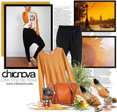 """Casual Style with Chicnova"" by polybaby on Polyvore  Trousers  http://www.chicnova.com/drop-crotch-trousers-in-modal.html  Bracelets http://www.chicnova.com/rivets-cowleather-bangles-pack.html"