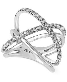 Modern shape and elegant design combine to create this stunning round-cut diamond crisscross ring (3/4 ct. t.w.) by Effy. Crafted of 14k white gold.   3/4 Carat Diamond Ring   Diamond Color Rating Cod