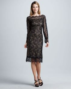 Long Sleeve Lace Cocktail Dress with Illusion Neck Cocktail Dresses With Sleeves, Prom Dresses With Pockets, Nice Dresses, Formal Dresses, Winter Dress Outfits, Casual Dress Outfits, Dress Winter, Curvy Dress, Lace Dress Black