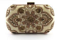 Handmade embroidery | Traditional Indian Zardosi work | Abstract Henna motif | Gold Silk box Clutch Bag