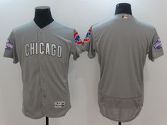 Chicago Cubs #00 Blank  Grey Gold# Men Flexbase 2017 New MLB Champion Jersey World Series Champion Patch Stitched