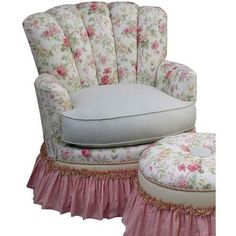English Bouquet Adult Rocker Glider Chair with Ottoman